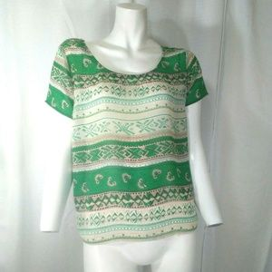 Charming Charlie Womens Patterned Blouse Small